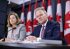 © Reuters. Bank of Canada Governor Stephen Poloz and Senior Deputy Governor Carolyn Wilkins listen to a question during a news conference in Ottawa