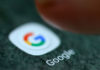 © Reuters. The Google app logo is seen on a smartphone in this illustration