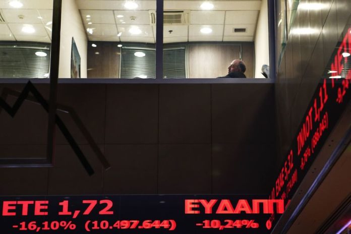 © Reuters.  Greece stocks lower at close of trade; Athens General Composite down 1.47%