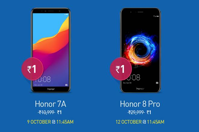 Honor Dussehra Sale, Honor sale, Honor smartphones, Honor re 1 phone, Honor phones at re 1, Honor pro 8, Honor 7a, Honor deals, Honor discounts, flipkart, amazon
