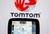 © Reuters. TomTom navigation are seen in front of TomTom displayed logo in this illustration taken