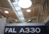 © Reuters. A sign is pictured at the entrance of the Airbus A330 final assembly line at Airbus headquarters in Colomiers