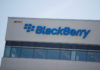 © Reuters. A sign is displayed on the building Blackberry
