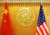 © Reuters. FILE PHOTO: Chinese and U.S. flags are set up for a meeting during a visit by U.S. Secretary of Transportation Elaine Chao at China