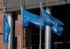 © Reuters. FILE PHOTO: Danske Bank flags flutter at the bank