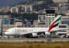 © Reuters. An Emirates Airbus A380 plane is seen at Nice International airport in Nice