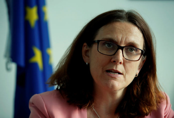 © Reuters. FILE PHOTO - EU Trade Commissioner Malmstrom attends an interview with Reuters in Geneva