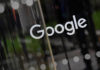 © Reuters. FILE PHOTO: The Google name is displayed outside the company