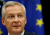 © Reuters. French Finance Minister Le Maire speaks on tax issues at a joint hearing with lawmakers of the economic affairs committee at the European Parliament in Strasbourg