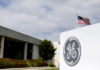 © Reuters. FILE PHOTO: The General Electric logo at their subsidiary company GE Aviation in Santa Ana
