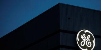 © Reuters. The General Electric logo is pictured on the General Electric offshore wind turbine plant in Montoir-de-Bretagne
