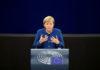 © Reuters. German Chancellor Merkel addresses the European Parliament during a debate on the future of Europe at the European Parliament in Strasbourg