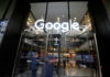 © Reuters. The Google name is displayed outside the company