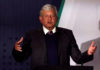 © Reuters. FILE PHOTO:  President-elect Andres Lopez Obrador talks about his security plan to the media in Mexico City