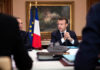 © Reuters. French President Emmanuel Macron holds a cabinet meeting at the prefecture in Charleville-Mezieres