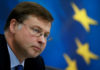 © Reuters. FILE PHOTO: European commission Vice President Valdis Dombrovskis at a news conference with Greek Finance Minister Euclid Tsakalotos (not pictured) in Athens