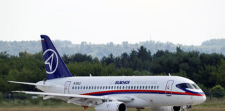 © Reuters. A Sukhoi Superjet 100 regional jet is seen on the tarmac at the MAKS 2017 air show in Zhukovsky