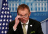 © Reuters. FILE PHOTO: White House Office of Management and Budget Director Mick Mulvaney speaks about the budget at the White House in Washington