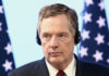 © Reuters. U.S. Trade Representative Lighthizer takes part in a joint news conference on the closing of the seventh round of NAFTA talks in Mexico City