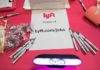© Reuters. The Lyft booth is seen at TechFair in Los Angeles