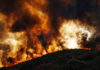 Flames roll over a hill toward homes near Lakeport, California, on Aug. 2. The effects of rapid climate change are being felt