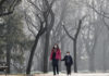 A woman and a child wearing masks to protect against pollution in Ritan Park, Beijing. Despite it