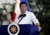 © Reuters. FILE PHOTO:  President Rodrigo Duterte speaks after his arrival in Davao