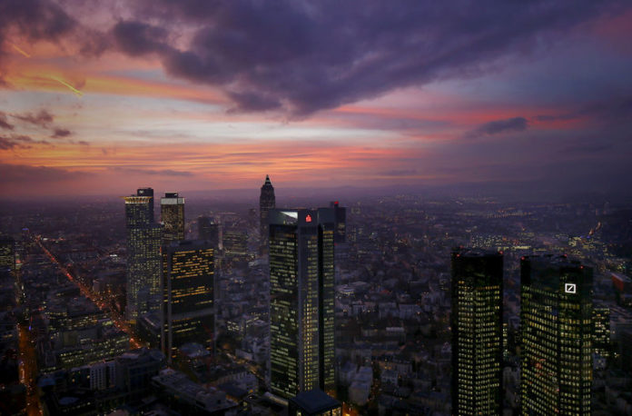 © Reuters. The skyline is photographed early evening in Frankfurt