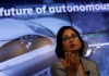 © Reuters. FILE PHOTO:  Padmasree Warrior, CEO of NIO U.S., speaks during a Reuters Newsmaker event on the Future of Autonomous Vehicles in New York