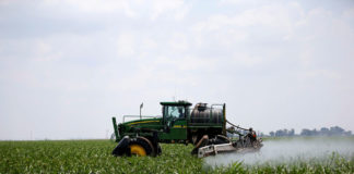 © Reuters. FILE PHOTO: A worker uses a John Deere tractor to spray a field of crops during a crop-eating armyworm invasion at a farm in Settlers, northern province of Limpopo
