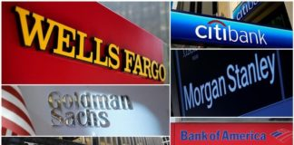 © Reuters. A combination file photo shows Wells Fargo, Citigbank, Morgan Stanley, JPMorgan Chase, Bank of America, JPMorgan, and Goldman Sachs from Reuters archive