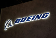© Reuters. FILE PHOTO: A Boeing logo is pictured during EBACE in Geneva