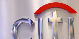 © Reuters. FILE PHOTO: A Citi sign is seen at the Citigroup stall on the floor of the New York Stock Exchange