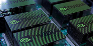 © Reuters. FILE PHOTO: The logo of Nvidia Corporation is seen during the annual Computex computer exhibition in Taipei
